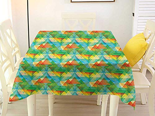 Square Tablecloth Topper Purple Colorful Artistic and Geometrical Composition with Double Tetrahedrons in Lively Colors Multicolor Clamps 36 x 36 Inch