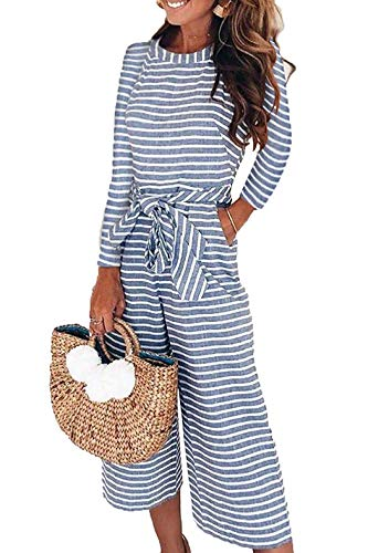 Women Jumpsuit, L'ananas 2018 Long Sleeve Blue Stripe Wide Legs Long Rompers Overalls with Belt (US-10/Tag-XL, Blue) by L'ananas-Women Jumpsuit