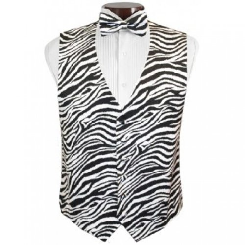Bold Zebra Tuxedo Vest and Bow Tie Size XXLarge