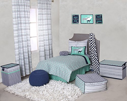 Bacati Noah Tribal 4 Piece Toddler Bedding Set Cotton Percale, Mint/Navy [並行輸入品]   B077Z1ZLCL