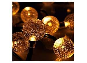 [1.2V 1200mAh] otow SL de 11sola bola solar guirnalda de luces luz cadena con 30LED de cristal bolas como de iluminación interior y exterior Jardín Decoración (Blanco Cálido)