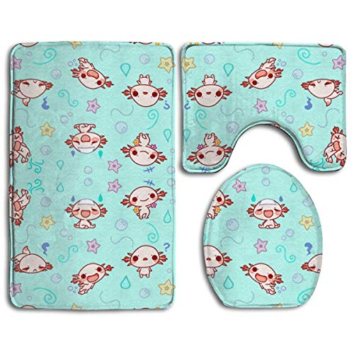 - Bath Mat Sets Eloise The Axolotl Kawaii Cute Animal Contour Rug U-Shaped Toilet Lid Cover,Non Slip,Machine Washable,3-Piece Rug Set Easier to Dry for Bathroom