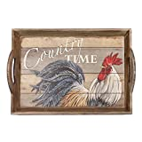 "Special T Imports 18"" MDF Wood Serving Tray ""Country Time"" Rooster"