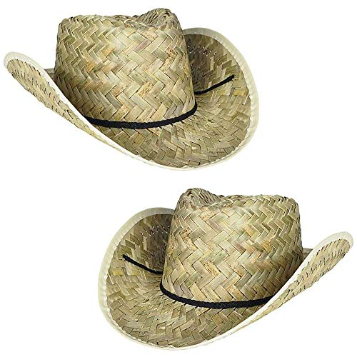 6 Straw Cowboy Hats | Western Costume Accessory or Ranch/Rodeo Birthday Party Favors | One Size Fits Most (6 Pack)