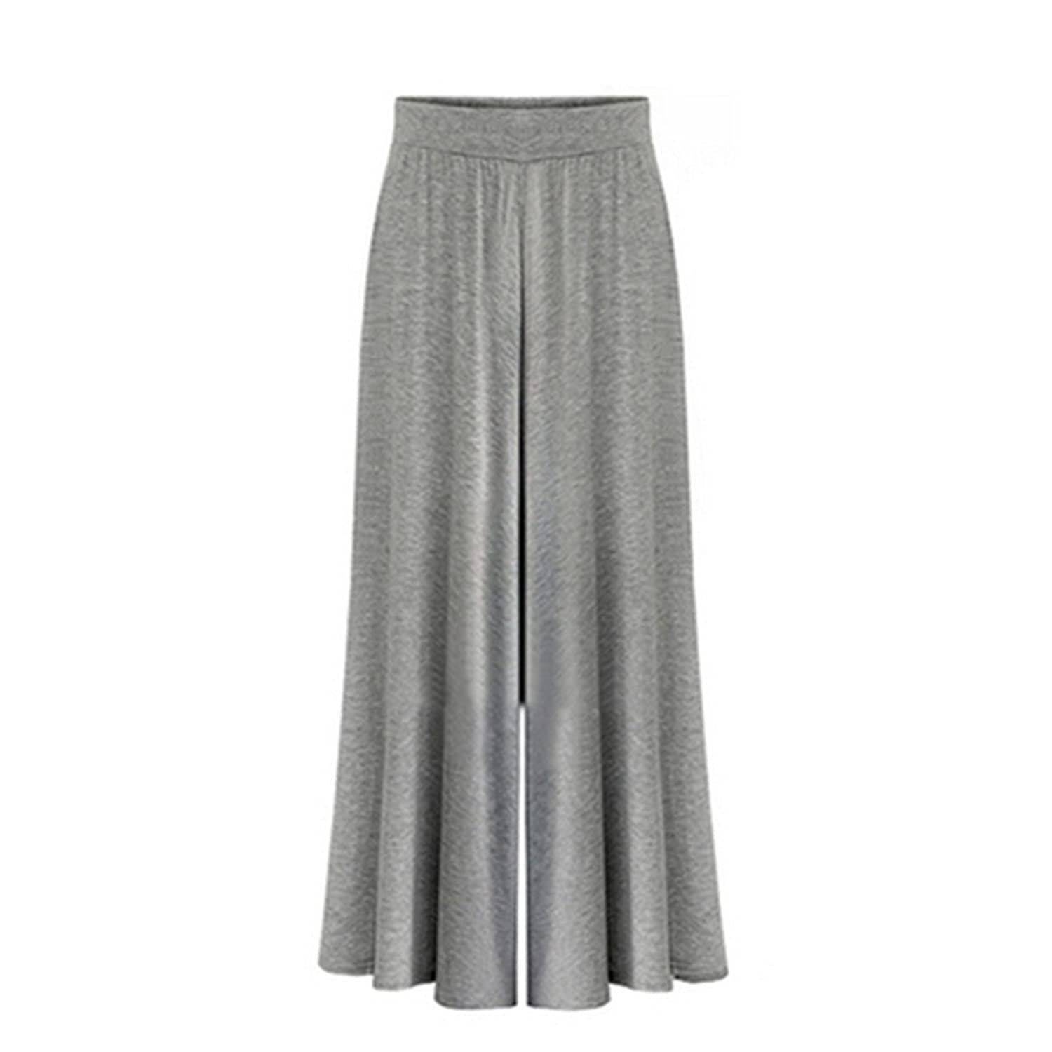 Ukiss Women's High Elastic Waist Full Length Pleated Wide Leg Pants Modal Culottes