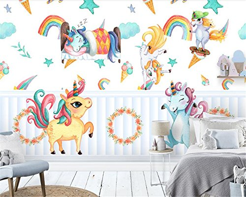 BZDHWWH Three-Dimensional Wall Paper Hand Painted Pony Unicorn Children'S Room Background Decoration 3D Wallpaper,190cm (H) x 285cm (W)