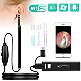 Ear Otoscope, Fvgia Wireless Ear Camera, 1.3 Megapixels Wifi Ear Scope USB Ear Cleaning Endoscope, Digital Inspection Otoscope with 6 Adjustable LEDs for IOS and Android Dvices, Windows