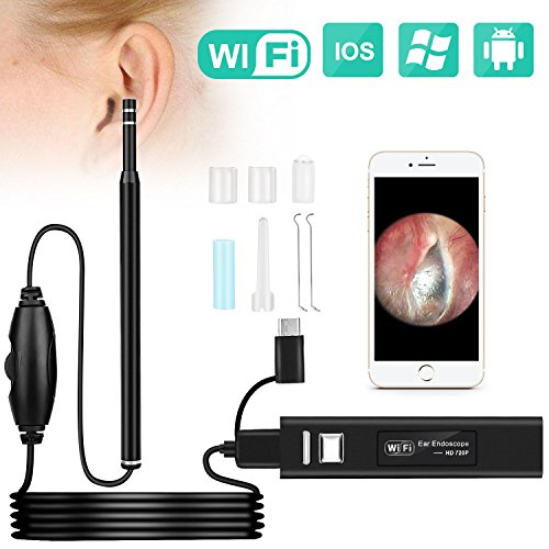 Ear Otoscope, Fvgia Wireless Ear Camera, 1.3 Megapixels Wifi Ear Scope USB Ear Cleaning Endoscope, Digital...
