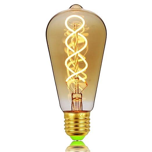 ST64 bombilla Edison gota Vintage doble espiral curvado LED filamento ámbar 4 W regulable 220/