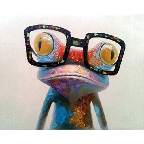 DIY Oil Painting Paint by Numbers Kit with Brushes Paint for Adults Kids Beginner Painting on Canvas Frog with Sunglasses 16x20 inch(No Framed) -