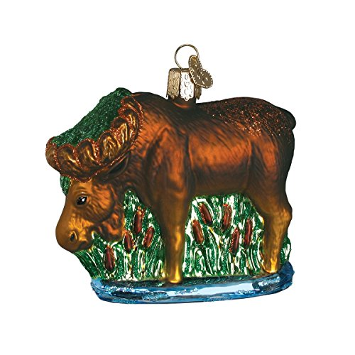 Old World Christmas Ornaments: Munching Moose Glass Blown Ornaments for Christmas Tree -
