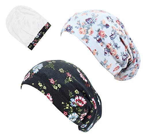 Lined Bonnet - SAYMRE Womens Satin Lined Slouchy Sleep Cap Beanies Bonnet Slap Cap Elastic Band for Curly Hair,Natural Hair(One Size, Black&White)