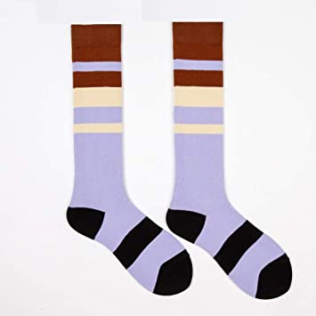 YUCH Calcetines De Mujer Calcetines De Tero De Contraste Retro Color Otoño E Invierno, Morado