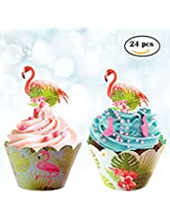24pcs Flamingo Double Sided Paper Cupcake Wrappers + 24pcs Flamingo Cupcake Toppers for Kids Party Cupcake Decorations