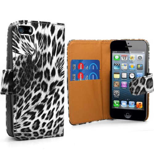 Accessory Master Leopard Blumen Design Leder Etui für Apple iPhone 5G schwarz