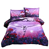 Alicemall 3D Unicorn Bedding Purple Bedding Set Dreamlike Flying Horse with Wings Purple Polyester 3D Bed Set, 4 Pieces, Duvet Cover, Bed Sheet and 2 Pillow Cases (King)