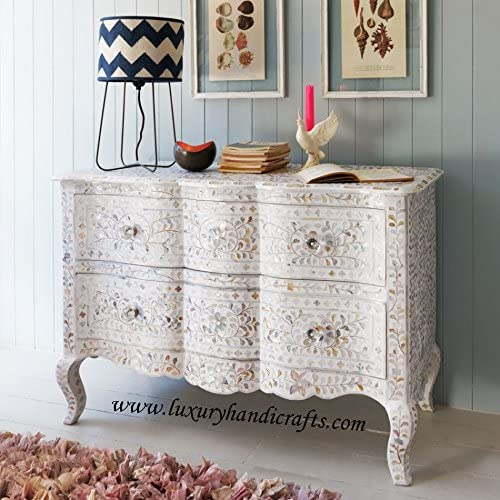Luxury Handicrafts Curved Mother of Pearl Inlay Floral Chest of Two Drawer White