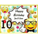 Emoji Birthday Party Banner Smileys Custom Emoji Party Supplies Personalized Birthday Decorations Party Poster USA
