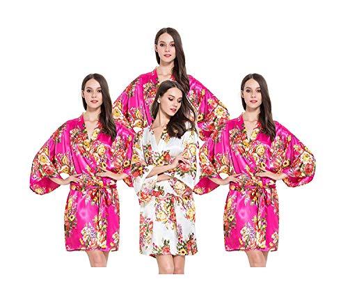 De Larga Claro Bata Tamaño Floral Kimono Mujer En V Manga Rosa Estampado Kirschrot Cuello Blush Vintage Un Ropa daqqB6Ywx