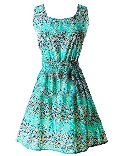 Dress Top Print Sleeveless Dress 14 Tank Floral Chiffon Coolred Women wxqFTp0ZF