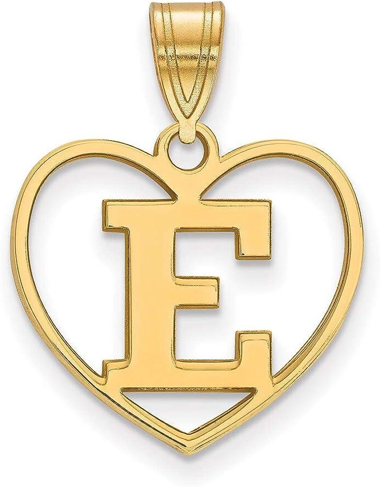 Lex /& Lu LogoArt Sterling Silver w//GP Eastern Michigan University Pendant in Heart
