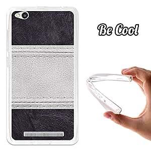 BeCool® - Funda Gel Flexible Xiaomi Redmi 3 Cuero Línea Blanca Carcasa Case Silicona TPU Suave