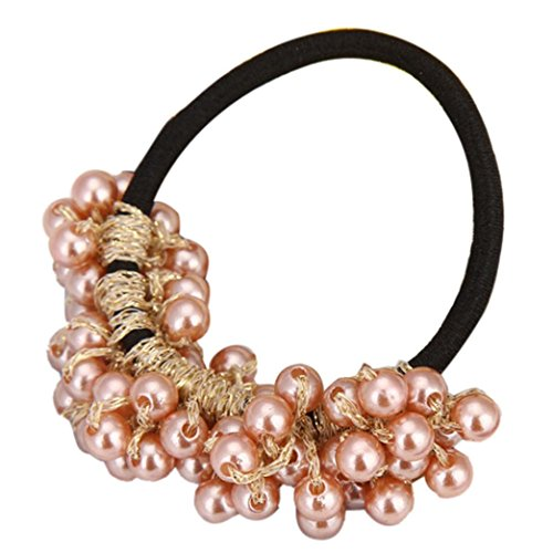 Ecurson Women Fashion Rhinestone Crystal Pearl Hair Band Rope Elastic Ponytail Holder (Gold)