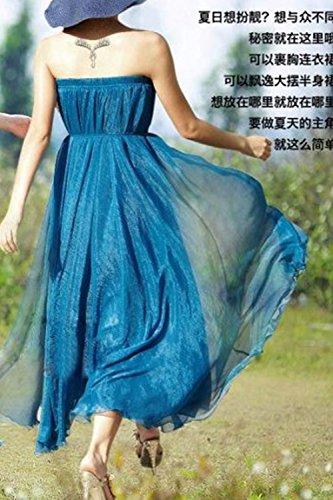 Las Mujeres De Gasa Vestido De Verano Bohemio Swing Flared Maxi Beachwear Blue3