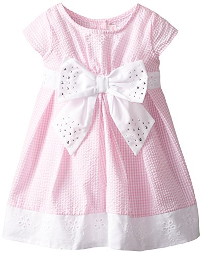 Youngland Little Girls' Seersucker Dress with Sudded Bow, Pink/White, 5