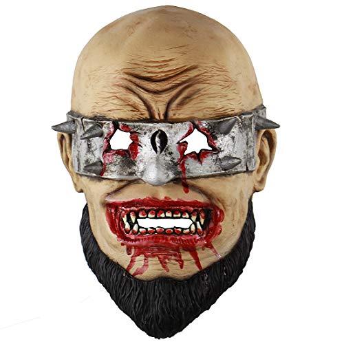MICG Halloween Scary Wack Zombie Horror Bloody Bearded Men's Mask Cosplay ()