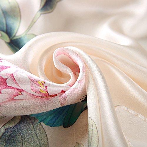 Ete Hiver Grand Impression Coloré Echarpe All Longue En Soie Uv Anti Foulard 5 Femme Beige Chale HSOx6Ww