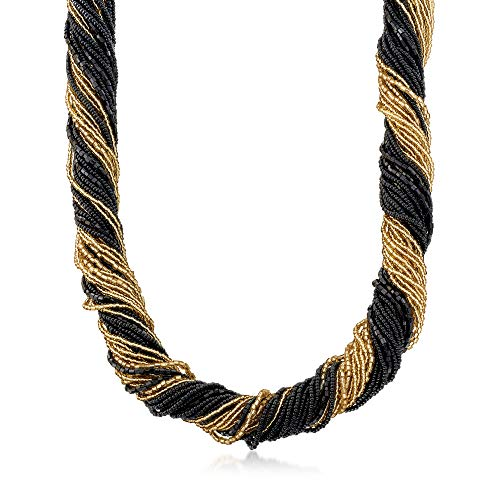 Ross-Simons Italian Black and Gold Murano Glass Bead Torsade Necklace With 18kt Gold Over Sterling