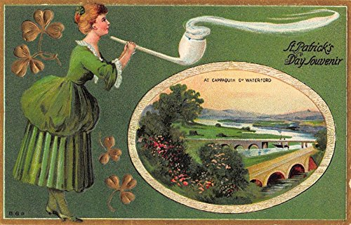 St. Patrick's Day Postcard Woman Smoking Pipe at Cappaquin Co - Waterford Women