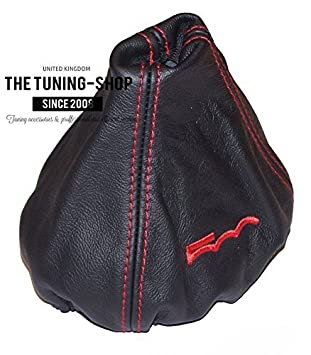 The Tuning-Shop Ltd For Fiat 500 2007-2015 Manual Shift Boot Blue Leather With White 500 Embroidery