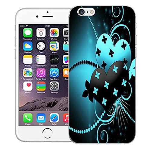 "Mobile Case Mate iPhone 6 4.7"" Silicone Coque couverture case cover Pare-chocs + STYLET - Blue Dual Love pattern (SILICON)"