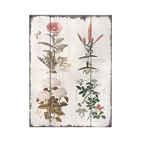 Barnyard Designs Vintage Florals Botanical Wood Plaques, Primitive Country Farmhouse Home Decor Sign 16