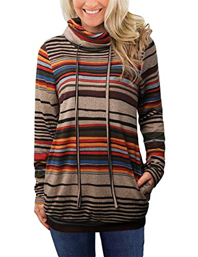 EMVANV Casual Cowl Neck Sweatshirts for Women Striped Long Sleeve Tops Pullover Sweatshirt with Pockets (Grey, Small)