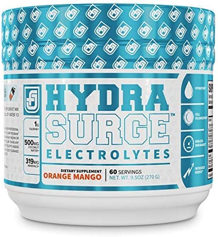 HYDRASURGE Electrolyte Powder – Hydration Supplement with Key Minerals, Himalayan Sea Salt, Coconut Water, More – Keto Friendly, Sugar Free Naturally Sweetened – 60 Servings, Orange Mango