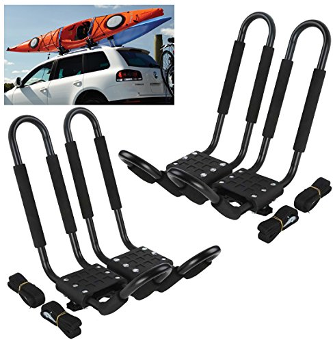 Car Rack & Carriers© Universal 2 Pairs J- shape Rack HD Kayak Carrier Canoe Boat. Surf Ski Roof Top Mounted on Car SUV Crossbar by Car Rack & Carriers