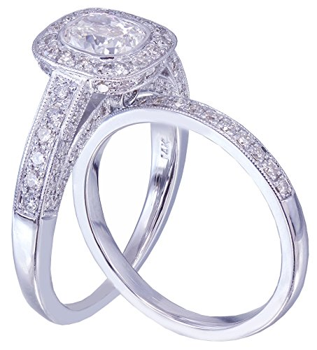 14k White Gold Cushion Moissanite and Round Cut Diamond Engagement Ring Band Bezel Set Bridal Wedding Set 2.00ctw Available sizes 4-12 (Prong 4 Bezel)