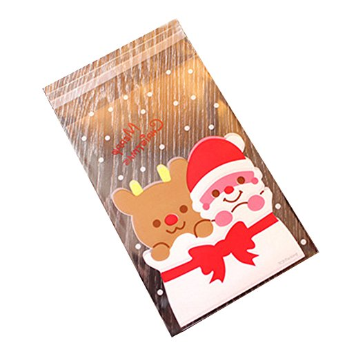 jingyuu 100PCS Christmas Transparent Thick Self Sealing OPP Cello Plastic Bags for Cookie Cake Pops Candy ()