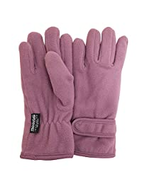 FLOSO® Big Girls Childrens/Kids Plain Thermal Fleece Gloves (3M 40g) (4-8 years) (Lilac)
