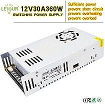 LETOUR Power Supply 12V Power Supply 30A 360W AC 110V/220V voltage converter DC 12V Adapter Aluminum Shell LED Power Supply for LED Lighting,LED Strip,CCTV(Silver)
