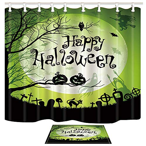 Halloween Night Moon (ChuaMi Halloween Shower Curtain Set, Happy Halloween Night and Moon Pumpkin, Green Background Waterproof Bathroom Decor Polyester Fabric 69 x 70 Inches with Hooks and Anti-Slip 40 x 60cm Bath)