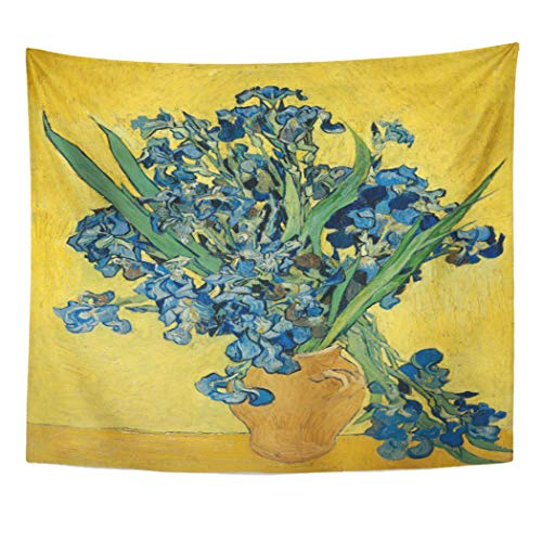 Semtomn Tapestry Artwork Wall Hanging Blue Vintage Vincent Van Gogh Vase Irises Post Impressionism 60x80 Inches Tapestries Mattress Tablecloth Curtain Home Decor Print