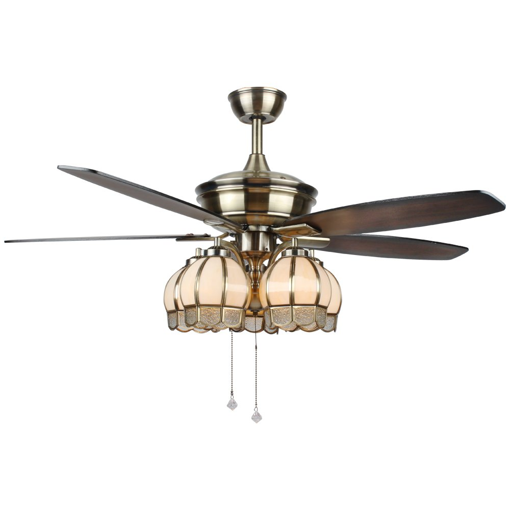 Tropicalfan Vintage Ceiling Fan With 5 Glass Light Cover Decorative For Living Room Hotel Quiet Fans Windward Fans Chandelier 5 Wood Blades 52 Inch