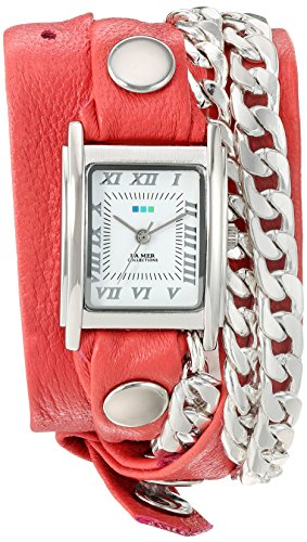 La Mer Collections Women's 'Silver Cuban Duo Chain' Quartz and Leather Watch, Color:Two Tone (Model: LMCW2016368)