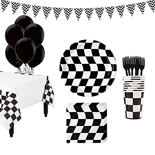 Party City Black & White Checkered Super Tableware Kit for 16 Guests, Includes Table Cover, Banner, Balloons and More]()