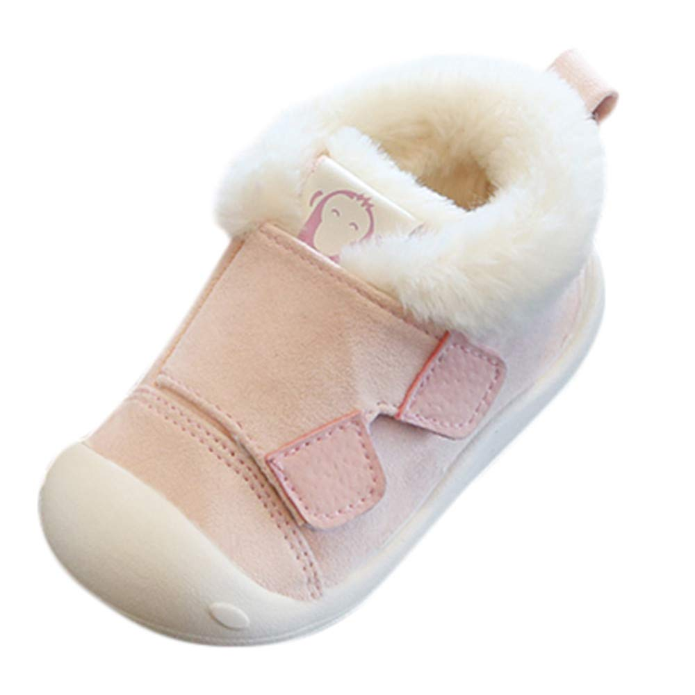 Janly Baby Shoes, Toddler Infant Anti Slip Crib Shoes 0-3 Years Old Girls Boys Fluffy Thick First Walker Winter Warm Flat Shoes JUH-852