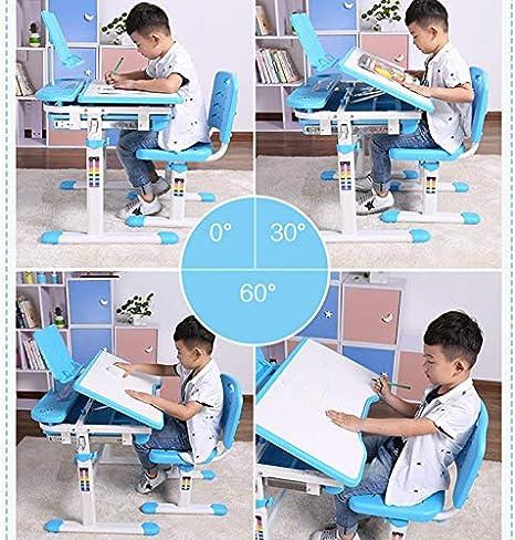 Bleu SOULONG Ensemble de Bureau et Chaise Enfant Hauteur R/églable et Pivotant 0 /à 45 /° Set Table Ergonomique de Dessin et Chaise avec Lampe Contr/ôle Tactile Meuble pour Enfant